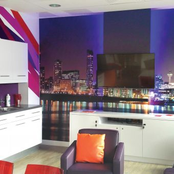 Lounge Wall Mural and Kitchen Unit Graphics