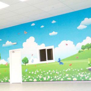 Brooklyn Playgroup - PreSchool Wall Mural. Colourful countryside theme.