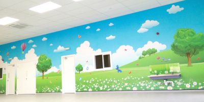 Brooklyn Playgroup - PreSchool Wall Mural. Colourful countryside theme.